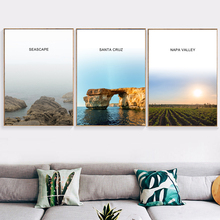 цена на Seascape Santa Cruz Napa Valley Nordic Posters And Prints Wall Art Canvas Painting Wall Pictures For Living Room Bedroom Decor