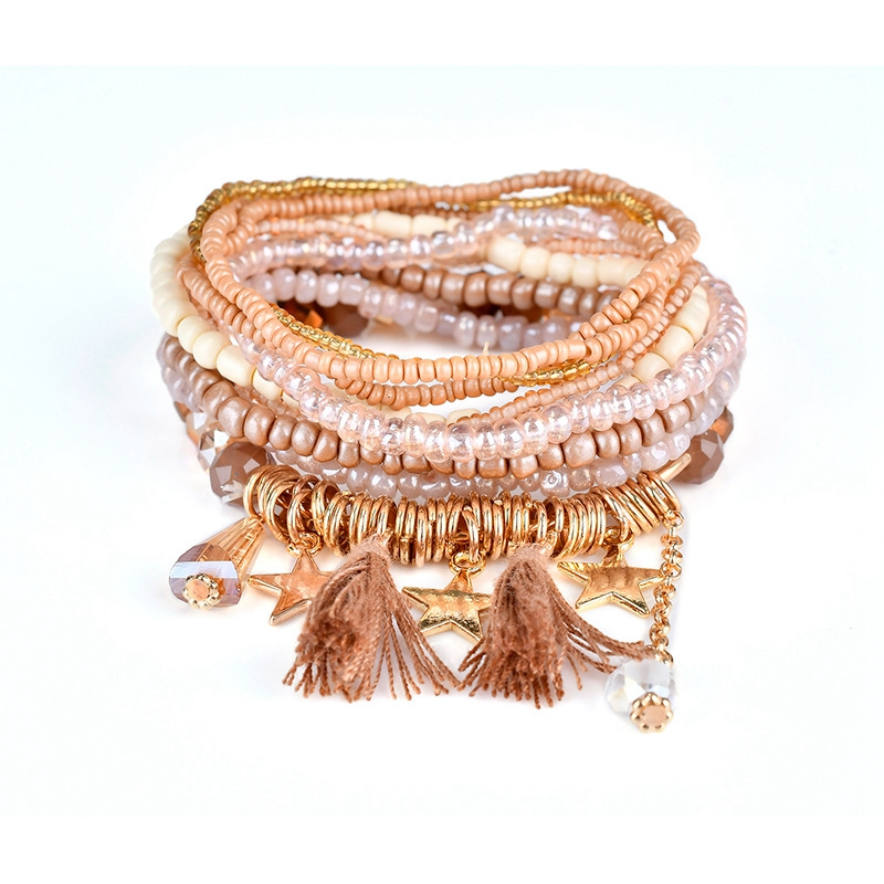FUNIQUE Bohemian Style Star Love Leaf Charm Beads Bracelets For Women Boho Tassel Multilayer Simulated Pearl Bracelet Jewelry