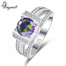 lingmei Brilliant Jewelry New Round Cut Multicolor & White Zircon Silver 925 Ring Size 6 7 8 9 Wedding Engagement For Women