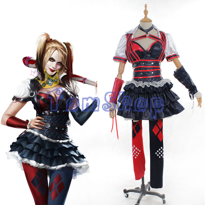 Batman Arkham Asylum City Suicide Squad Harley Quinn Cosplay Dress Full Set Women's Halloween Costumes