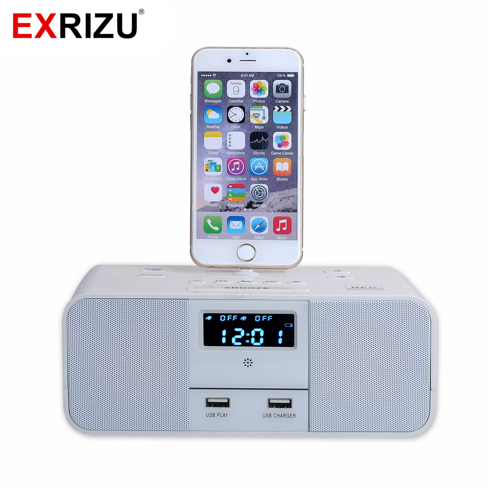 EXRIZU S6 Premium Hotel Home Charger Dock Stand Station 10W Clock Wireless Bluetooth Music Speaker for iPhone X 6/6s/7/8 Plus XSEXRIZU S6 Premium Hotel Home Charger Dock Stand Station 10W Clock Wireless Bluetooth Music Speaker for iPhone X 6/6s/7/8 Plus XS