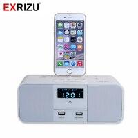 EXRIZU S6 Prime Hôtel Accueil Chargeur Dock Stand Station 10 W Mini Sans Fil Bluetooth Musique Haut-Parleur pour iPhone X/6/6 s/7/8 Plus 5S