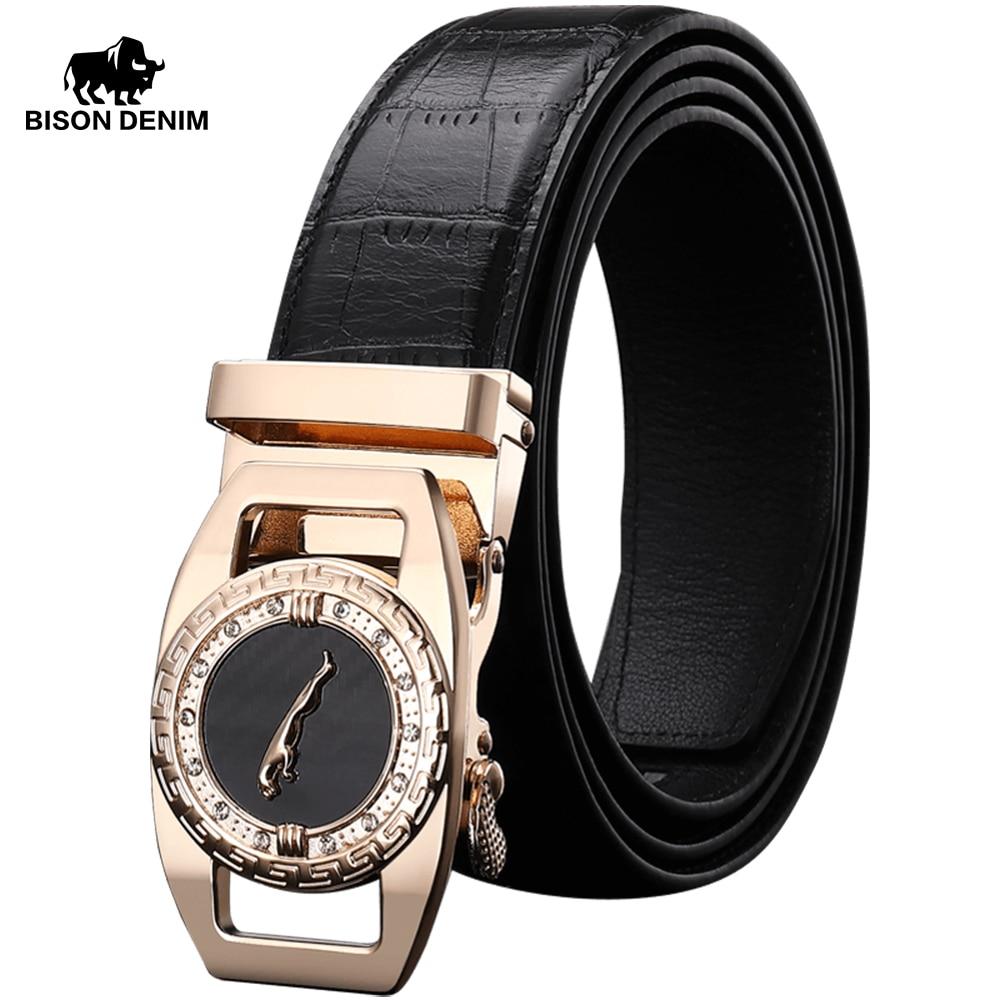 BISON DENIM Genuine Leather Men Belt 3.5cm Width Golden & Silver Color Automatic Buckle Fashion Cowskin Belts For Male N71395