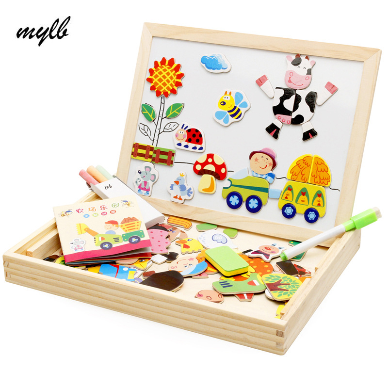mylb  Educational Farm Jungle Animal Wooden Magnetic Puzzle Toys for Children Kids Jigsaw Baby's Drawing Easel Board 32 pcs setcolor changed diy jigsaw toys wooden children educational toys baby play tive junior tangram learning set