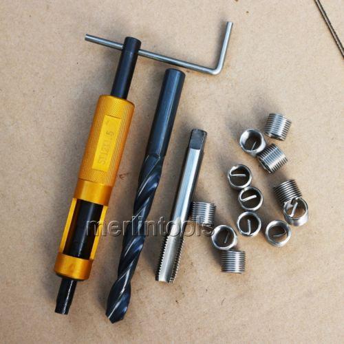 все цены на M12 x 1.5 Thread Repair Kit Tap and Drill bit Helicoil Insert Insertion tool онлайн