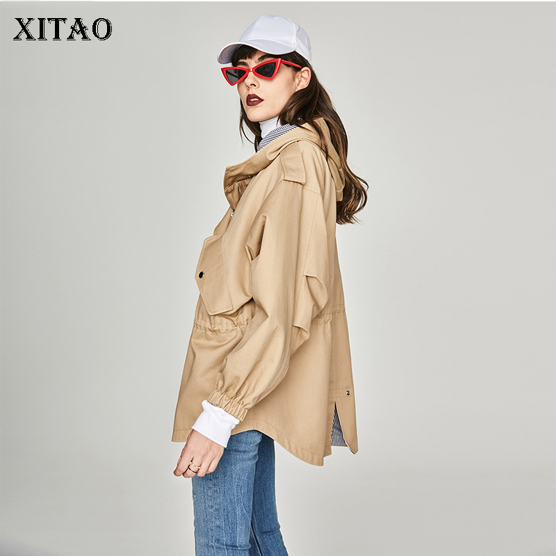 [XITAO] Casual Women 2018 Autumn Korea Fashion New Hooded Collar Full Sleeve   Trench   Female Solid Color Bandage   Trench   ZLL1653