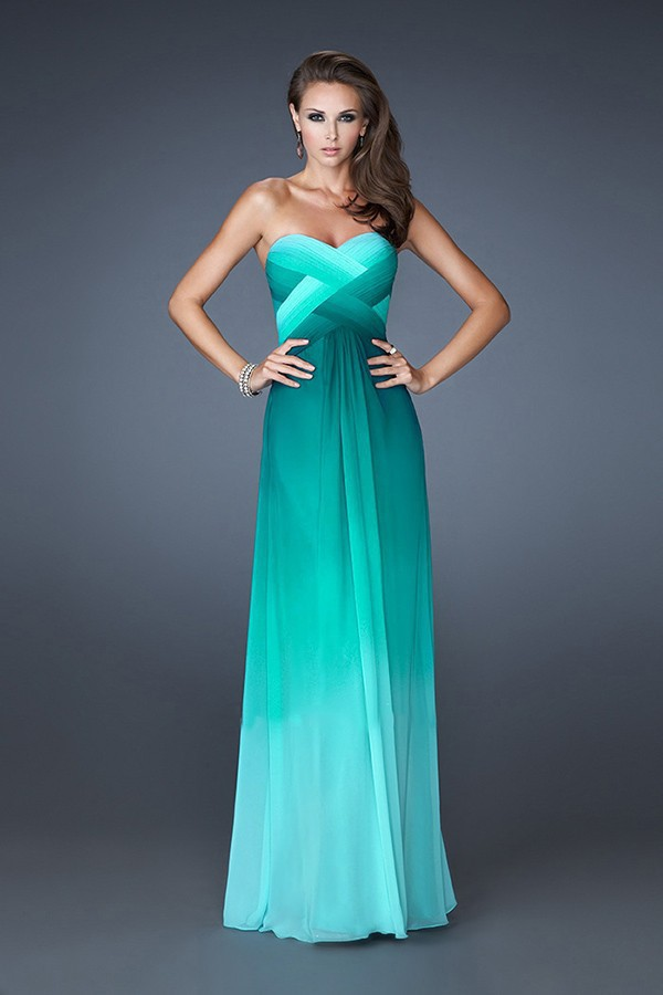 Free Shipping Prom Gowns Multi Tonal Chiffon Ombre Dress-in Prom ...