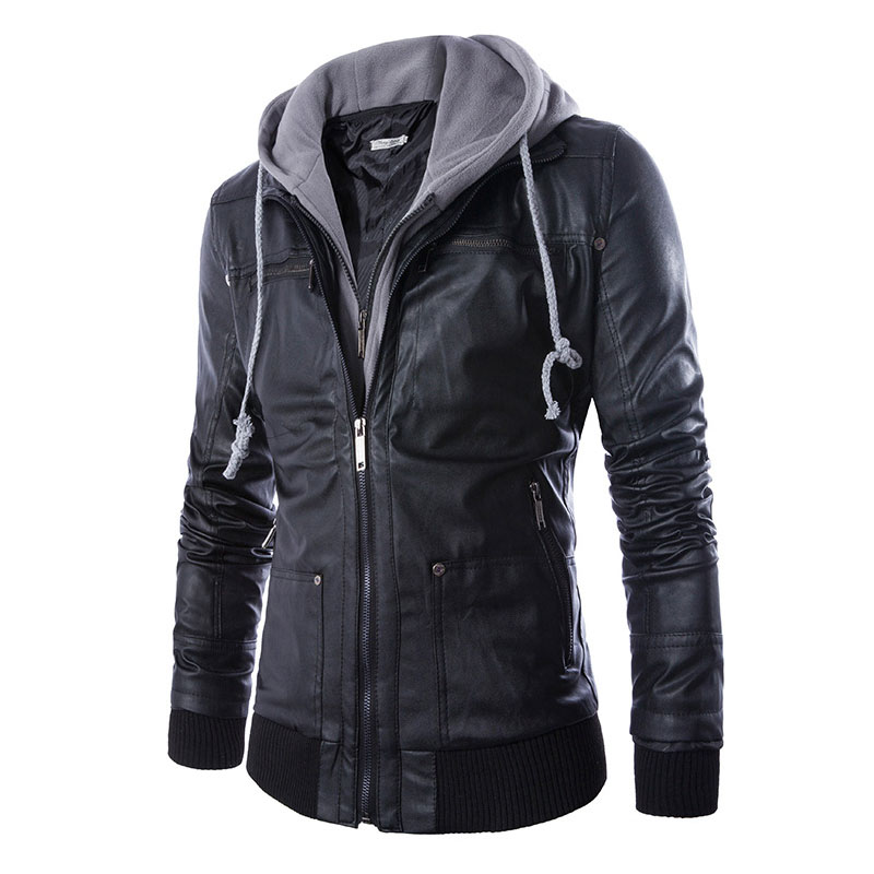 Popular Hooded Leather Bomber Jacket Men-Buy Cheap Hooded Leather