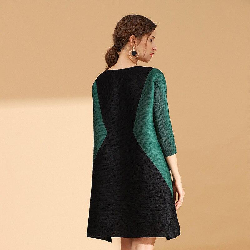 D'une Patchwork Lady Nouveau Lâche Automne Seule red Printemps green Mode Black Femmes Plissée Robe Casual Pièce 0pIXTz