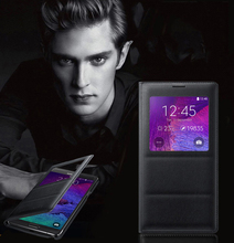 Роскошные окно телефона чехол для Samsung Galaxy Note 4 кожаный чехол флип Капа для Samsung Note 4 чехол для Galaxy Note4 Coque принципиально