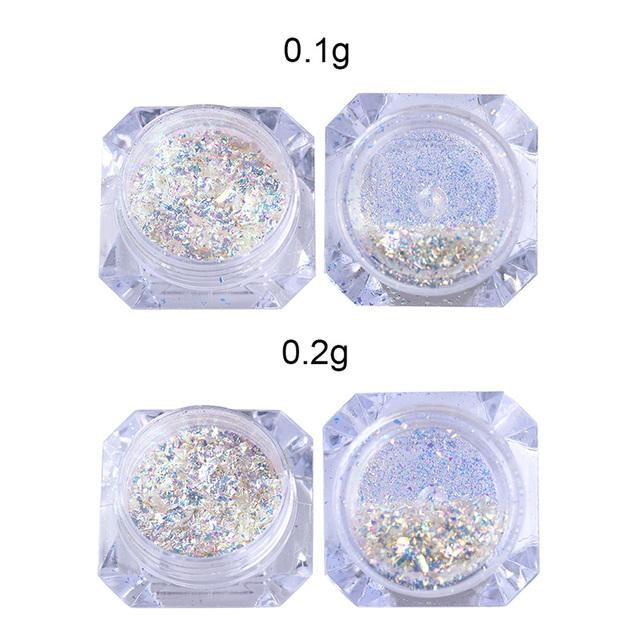1 Box 0.1g/0.2g Nail Glitter Powder Chameleon Mirror Effect Flakies Iridescent Paillette Manicure Nail Art DIY Decoration