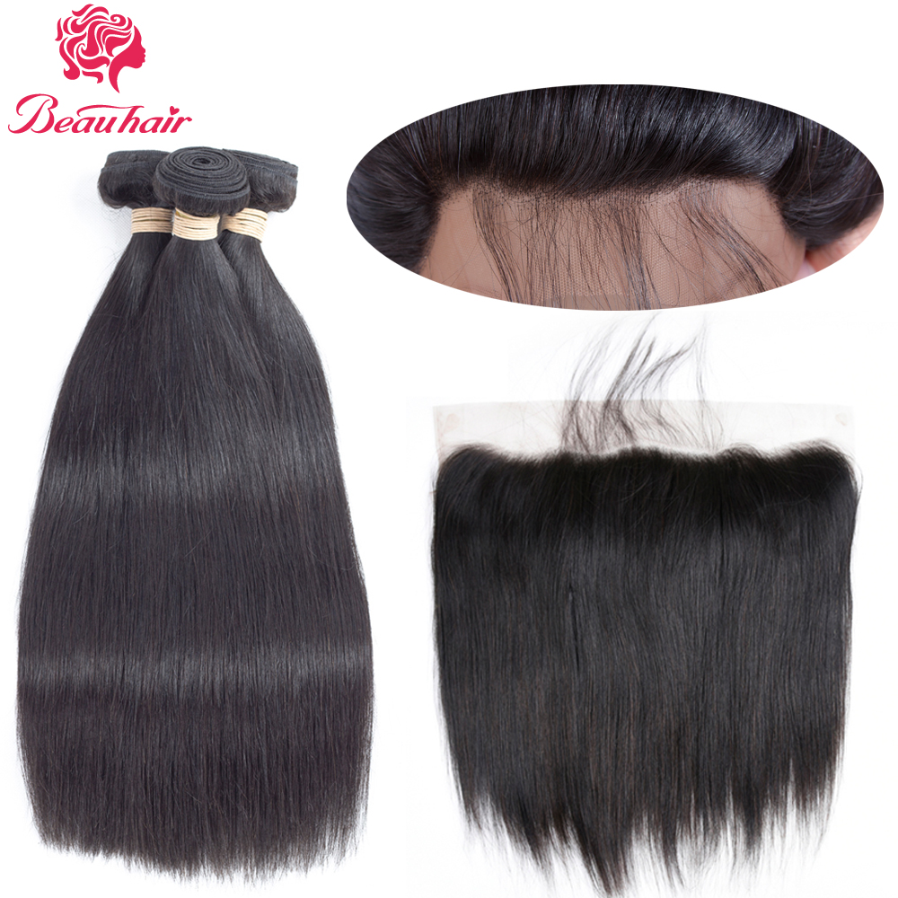 Beau Hair Ear To Ear Lace Frontal Closure With 3 Bundles Indian Straight Human hair Weaves With Closures Non Remy 4 Pcs/lot