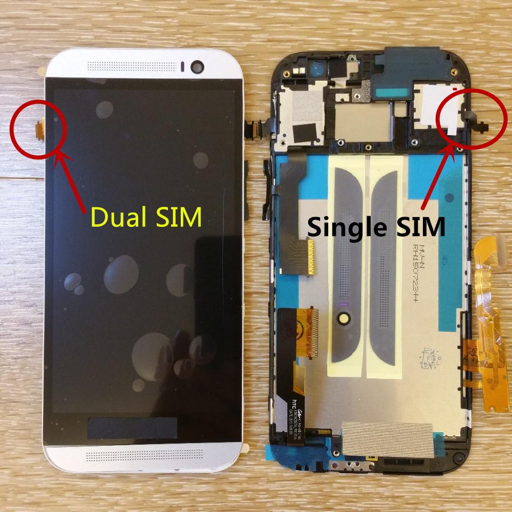Prix pour Lcd display + digitizer écran tactile assemblée verre pour htc one m8 téléphone portable 5.0 pouce or argent gris avec cadre