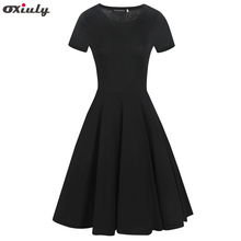 Oxiuly Women Elegant Formal Work Office Business Pleated A-line Dress Classic Flare Black