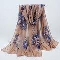 Nova impresso big flor de algodão viscose praia longos xales inverno quente do envoltório do lenço pashmina hijab muçulmano lenços macios 014