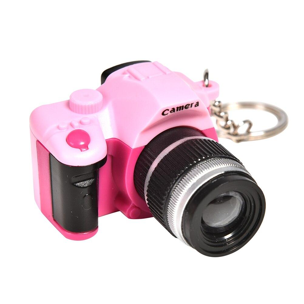 Creative Mini Camera Keychains With Sound LED Flashlight Key Chain Key Ring Toys