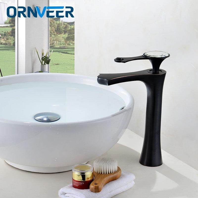 Noir avec diamants pont monté poignée unique comptoir haut bassin robinet or laiton eau chaude et froide salle de bain mélangeur
