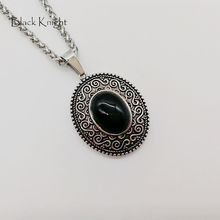 Black Knight Vintage silver color stainless steel Oval pendant necklace womens retro black stone oval stylish BLKN0693