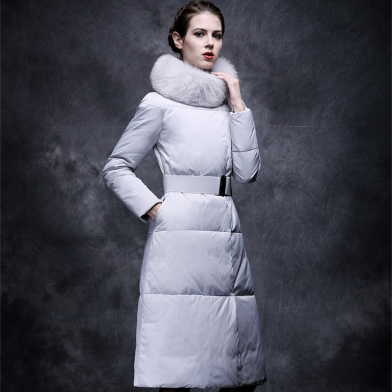 2018 winter ultra long down coat female long over-the-knee ultra long paragraph cotton-padded jacket female slim thickening australia new white goose down jacket female long thick knee thickening slim size winter coat
