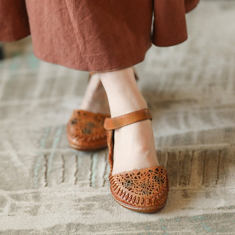Genuine Leather Sandals Women Summer Shoes Low Heel Hollow Out Sandals Soft Leather Embroidery Handmade Ladies Sandals L308-16 tyawkiho genuine leather women sandals low heel white casual leather summer shoes 2018 handmade women leather sandal soft bottom