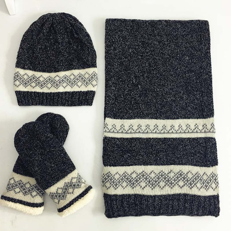 2019 Winter Men Scarf Hat Gloves Set Three Piece Winter Warm Set Female Hats Scarves Men Unisex Winter hat