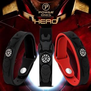 Image 2 - Power Ionischen Super Hero Serie 3000 ionen Sport Titan Mode Wasserdicht Armband Armband Balance Menschlichen Körper Frei Schriftzug