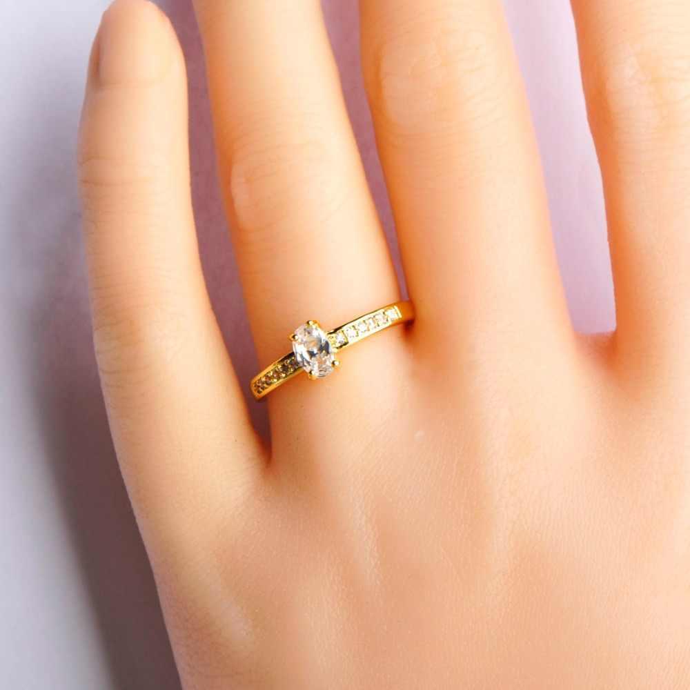 דק זרוע עם אבן קריסטל CZ טבעות לנשים מסיבת חתונת אצבע תכשיטי יום נישואים מתנת זהב צבע פשוט נחושת רחב טבעות