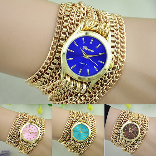 Women Adjustable Clasp Multi-layer Golden Chain Band Bracelet Jewelry Wrist