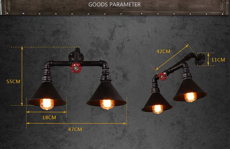 Stile vintage loft lampada da parete edison industriale ferro tubo