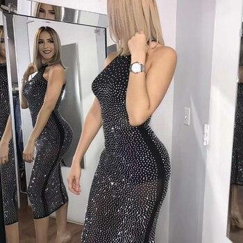 2018 nuevo vestido vendaje de moda de verano sin mangas espalda descubierta  Sexy Bodycon de lujo celebridad vestido de fiesta de noche Vestidos 4e8f33f02fb9