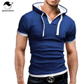 Men'S T Shirt 2017 Summer Fashion Hooded Sling Short-Sleeved Tees Male Camisa Masculina  s T-Shirt Slim Homme 4XL