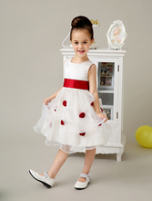 Satin and Tulle A line little Girl Dresses with red sash wedding flower girls dresses formal