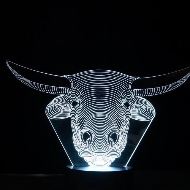 Increíble Ilusión 3D led Lámpara de Mesa Luz de La Noche con forma animal bull FS-2838
