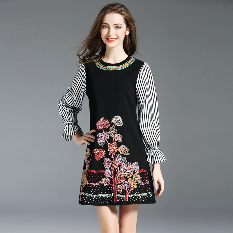 b1512a5f2 De Negro Otoño Traje Bordado Floral Sunnyyeah Invierno Mini Elegante Fiesta Vestido  Mujer Vestidos nkO8wX0P