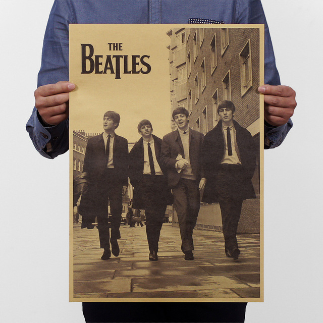 Adesivos De Parede Beatles Nostalgia Old Posters Advertising Bar Complex Decorative Painting 51 * 35cm Vintage Greeting Card