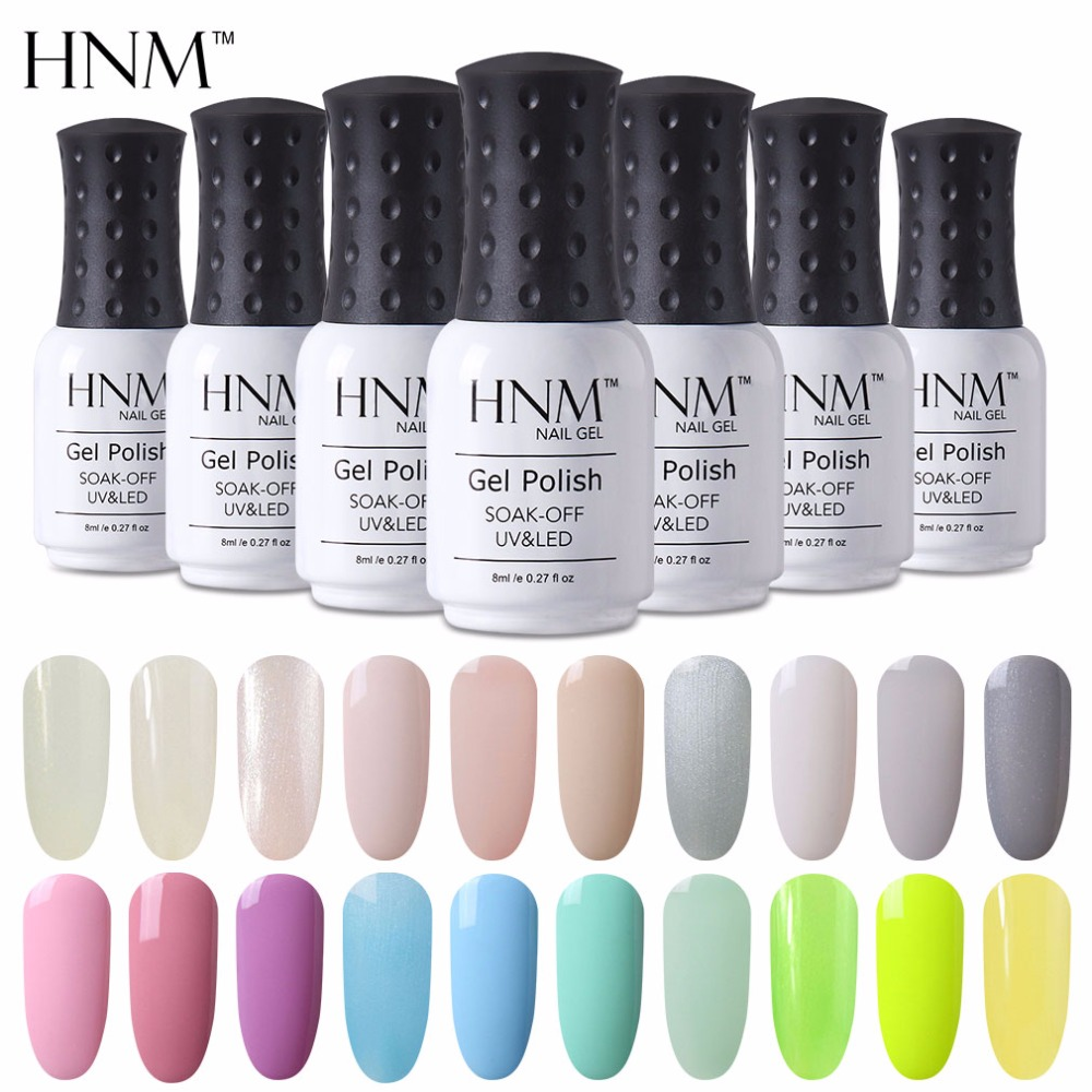 buy hnm 8ml nail polish light color nagellak uv led nail polishes vernis semi. Black Bedroom Furniture Sets. Home Design Ideas