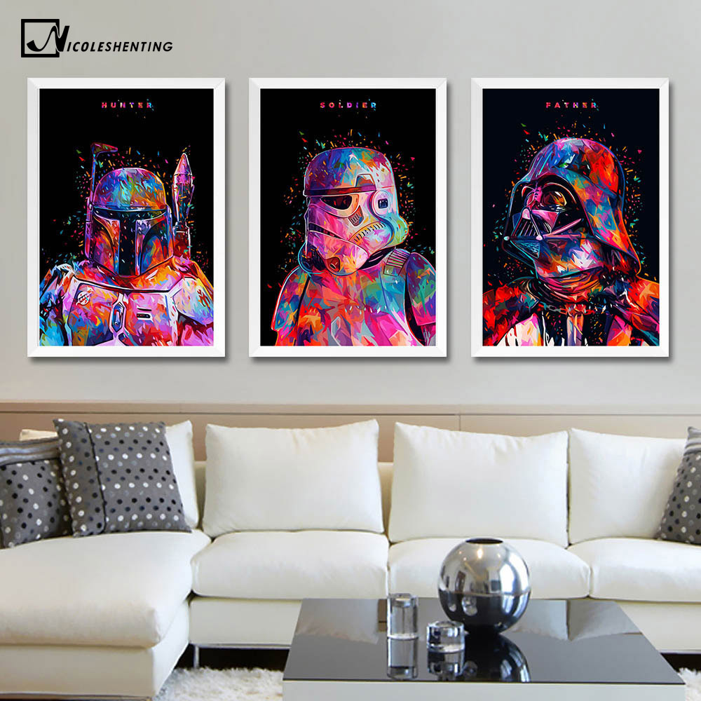 Star Wars 7 Minimalist Art Canvas Poster Painting Darth Vader Stormtrooper Movie Wall Picture Print Home Bedroom Decoration christmas tree star print tapestry wall hanging art%2