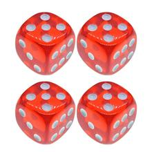 4Pcs Dices 18mm Translucent Red 6-Sided Solid Rounded Corner Dice for Games Teaching
