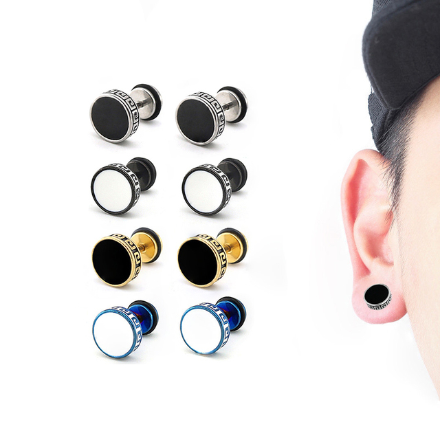 391401970 1 Piece Unisex Barbell Titanium Steel Men Earrings Punk Anti allergy  Piercing Ear Stud Male fashion