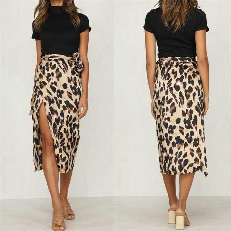 eaa4b717f472 New Fashion Women Leopard Skirt Slim Wrap Asymmetric Bandage Lace Up Side  Split Gypsy Drape Bodycon