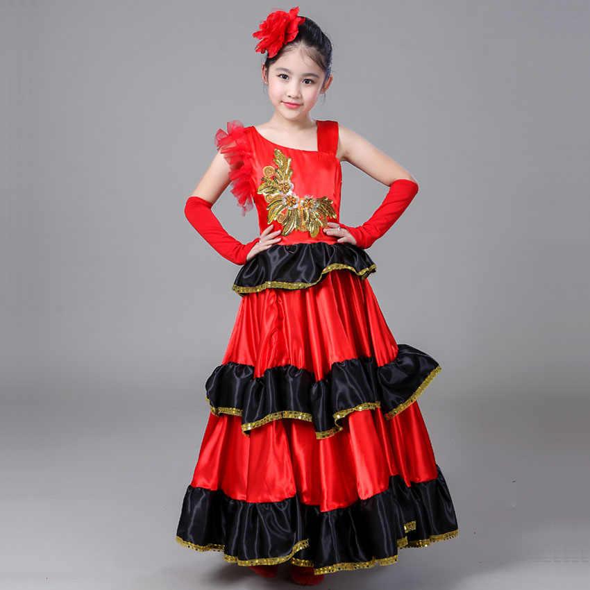 508ea0be2 Falda Flamenca para niños, niñas, vestido de baile de Bullfighting español,  Falda de baile roja grande, falda de actuación artística, ropa de ...