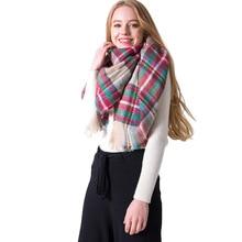 High Quality Colorful Plaid Basic Scarf Women Autumn Winter New Imitation Cashmere Large Shawl Foulard Femme