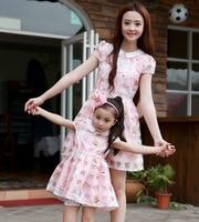 Family Fitted Summer New Pink Peter Pan Collar High End Short Sleeve Mother Daughter Dress Children