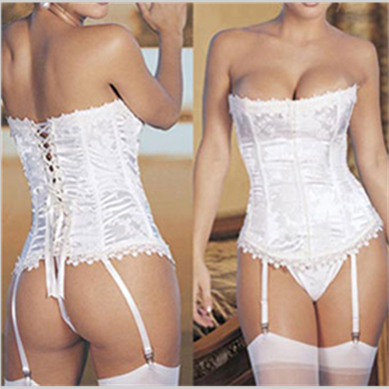 Sexy Bridal Ladies Lace Trim Boned Bustier Corset with Suspenders and Thong floral corsets Outfit Basques Lingerie