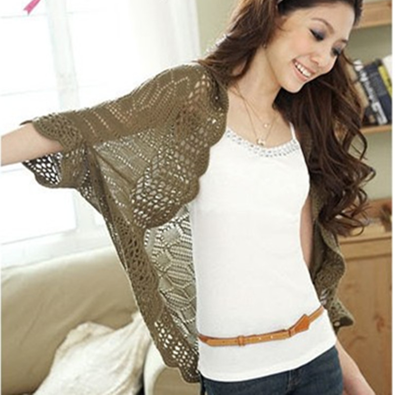 11 Color Batwing Crochet Cardigan Women Small Tops Open Wrap Stitch Knitted Sweater Thin Cape Outerwear Loose Shrug Shawl Tippet