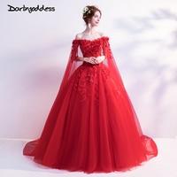 Darlingoddess Vestido de Noiva Sexy Red Lace Photography Wedding Dress 2018 Ball Gown Flowers Princess Wedding Gown Plus Size