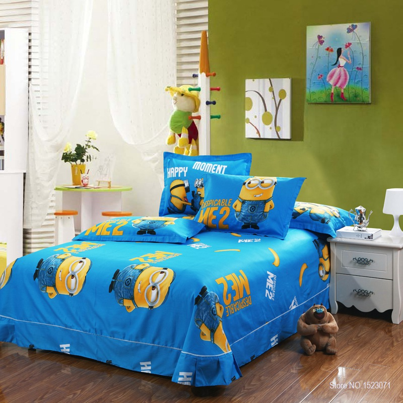 100%cotton Minion Bedding Sets Kids Pink Bedspreads Cartoon Bedclothes Duvet  Cover Set Bed Sheets King Queen Twin Size In Bedding Sets From Home U0026  Garden On ...