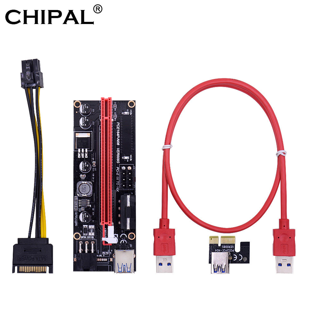 Forceful Chipal 10pcs Ver009s Pcie Pci-e Riser Card Pcie 1x To 16x Extender With Led Indicator Molex Power Supply 60cm Usb 3.0 Cable