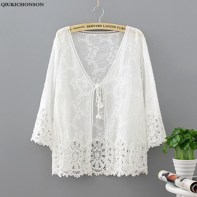 Qiukichonson Embroidery Crochet Lace Cardigan Long Sleeve Women