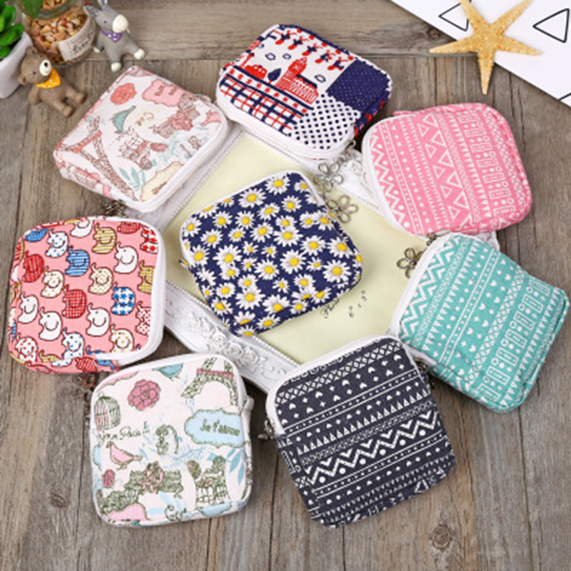 VESNAHOME Napkin Towel Storage Bag Sanitary Pad Credit Card